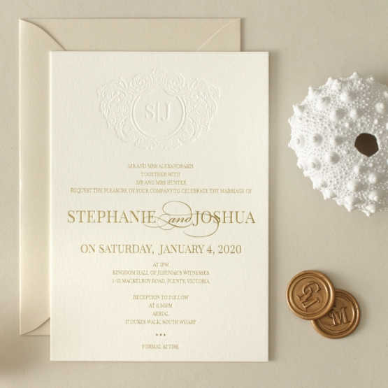 Letterpressed Monogram with Foil  - Wedding Invitations - WP-IC55-BLGG-01 - 178930