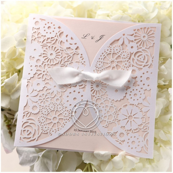 Blush Blooms engagement party card