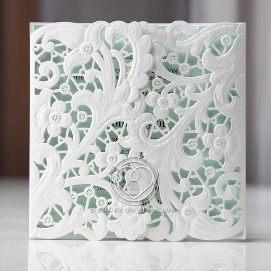 Embossed Gatefold Flowers engagement invite card design