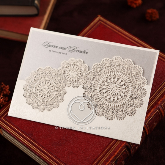 Rustic Lace Pocket engagement party invite design