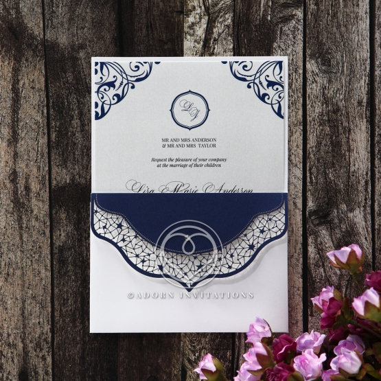 Jewelled Navy Half Pocket engagement party invitation card design