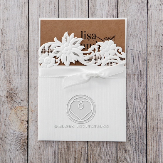 Rustic Laser Cut Pocket with Classic Bow engagement party invitation
