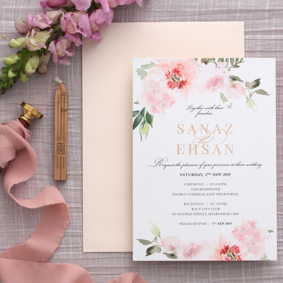Gold and Floral Triplex Invitation - Wedding Invitations - WP306GG - 178349