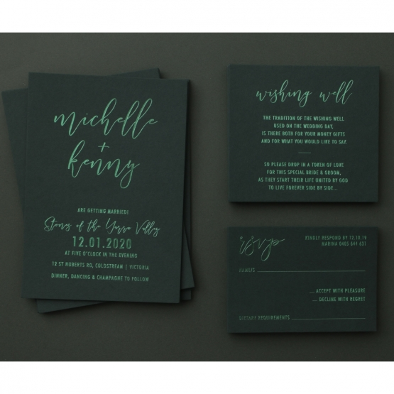 green_foiled_invitations_set