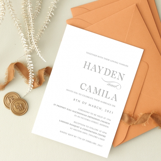 Modern Grey Letterpress - Wedding Invitations - WP-IC55-LP-09 - 178905