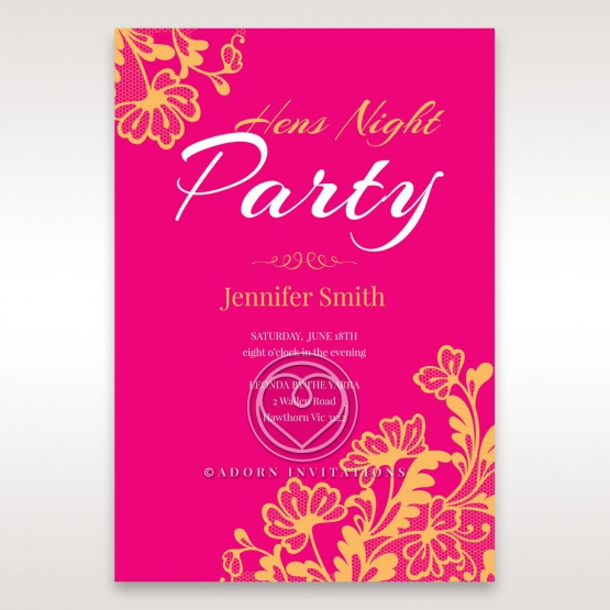 Lace and Glamour hens night invitation card design