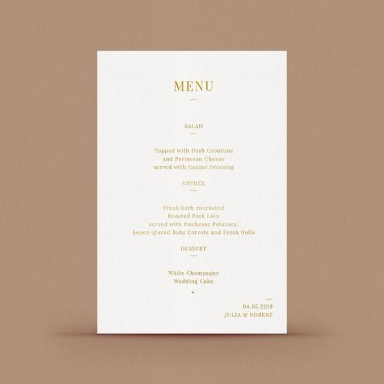 Foil stamped menu card