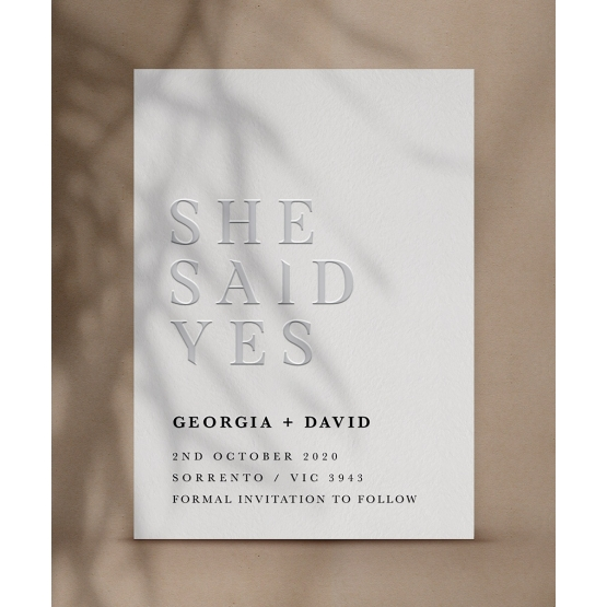 Letterpressed She Said Yes  - Wedding Invitations - WP-CR14-SD-BL-3 - 178884