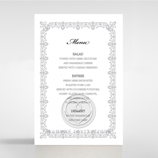 Black on Black Victorian Luxe wedding reception menu card stationery item