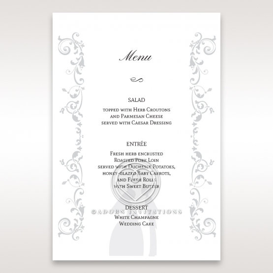 Bridal Romance reception table menu card stationery item