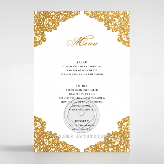 Charming Lace Frame with Foil wedding reception table menu card stationery design