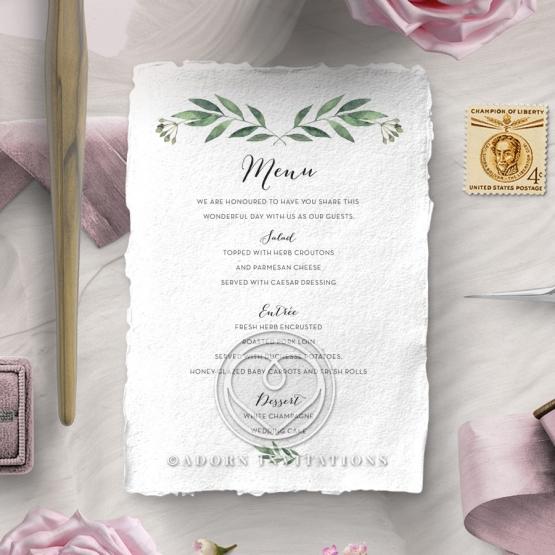 Country Garland wedding menu card design