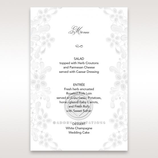 Enchanting Ivory Laser Cut Floral Wrap wedding table menu card stationery