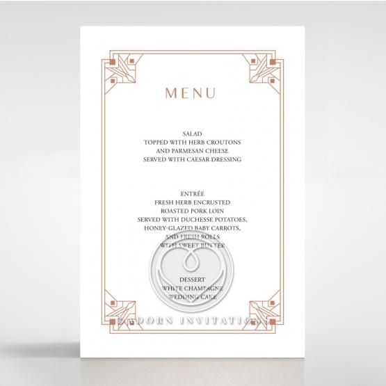 Gatsby Glamour wedding reception menu card stationery