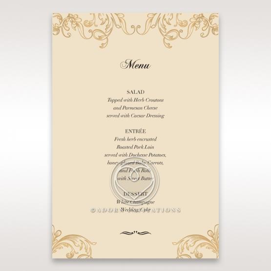 Golden Charisma table menu card