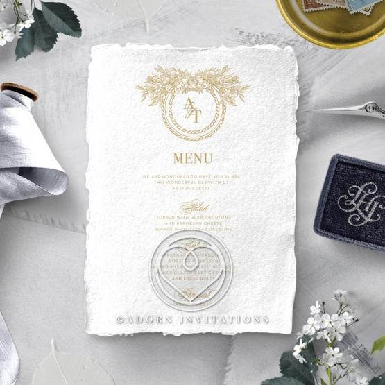 Heritage of Love wedding stationery table menu card item