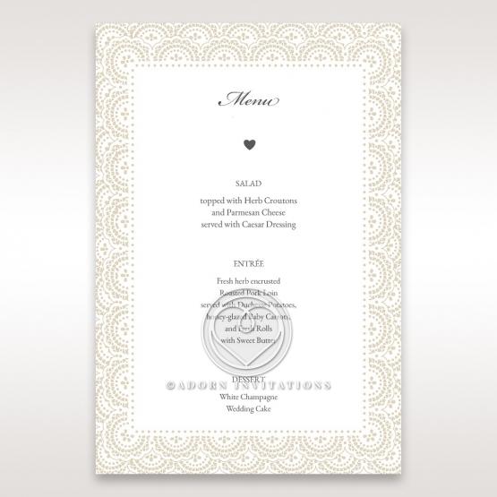 Intricate Vintage Lace wedding stationery menu card