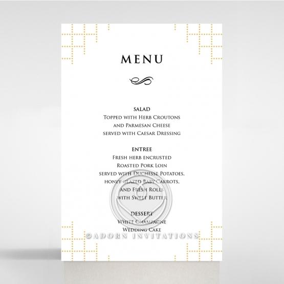 Quilted Letterpress Elegance wedding reception menu card