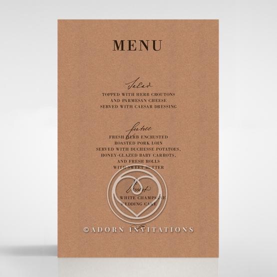 Rustic Love Notes wedding stationery menu card
