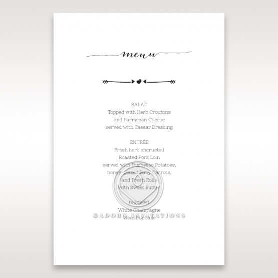 Simply Rustic reception table menu card stationery design