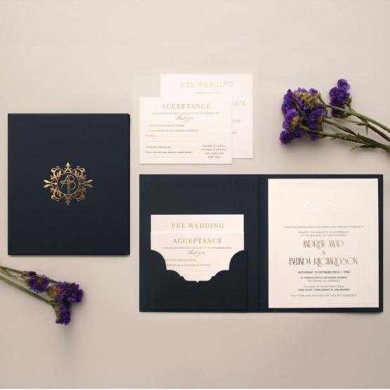 Premium Gold Embellished Navy Hardcover - Wedding Invitations - HC-NV03 - 178478