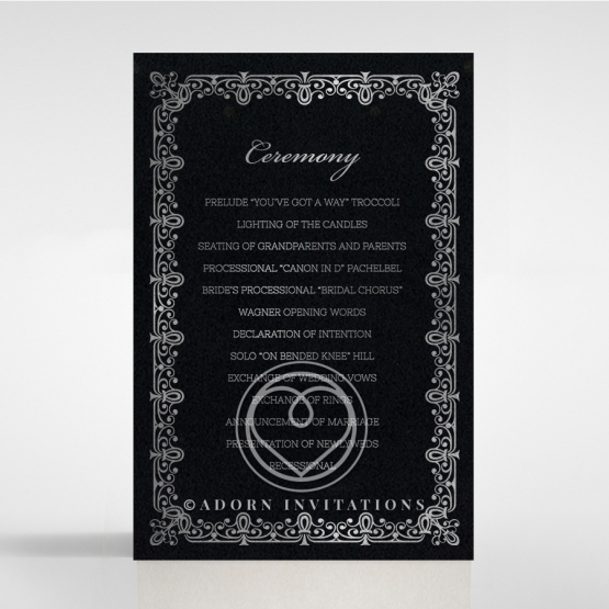 Black on Black Victorian Luxe with foil order of service stationery invite card