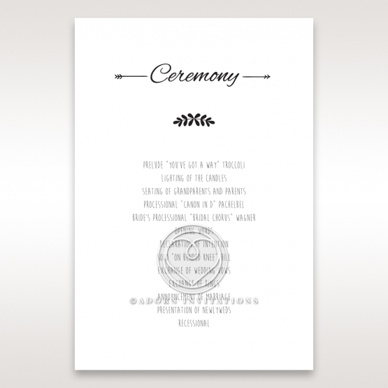 Country Lace Pocket order of service card design