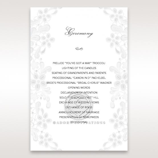 Enchanting Ivory Laser Cut Floral Wrap order of service card