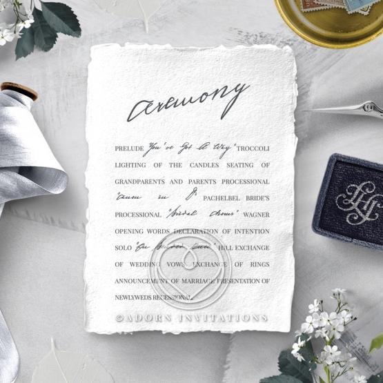 Everlasting Devotion wedding order of service card