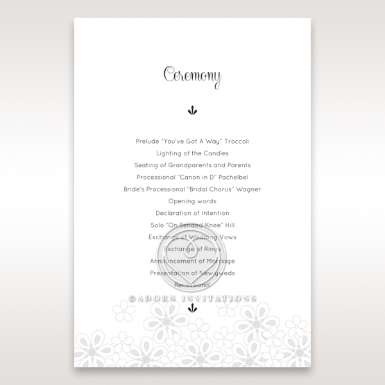 Floral Cluster wedding order of service card