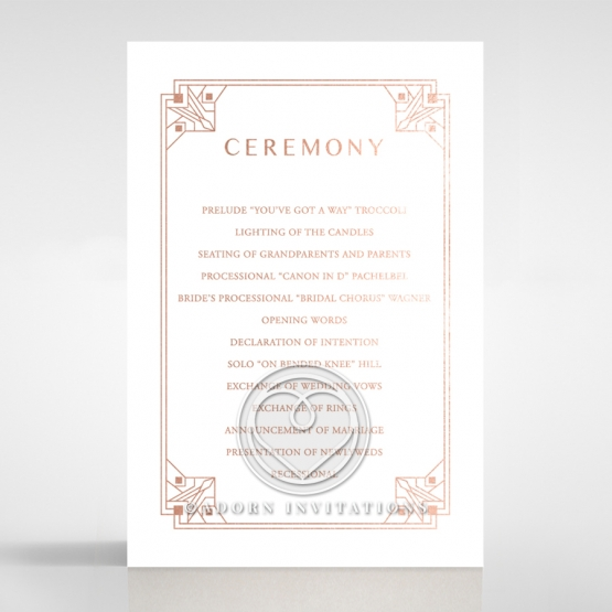 Gatsby Glamour order of service wedding card