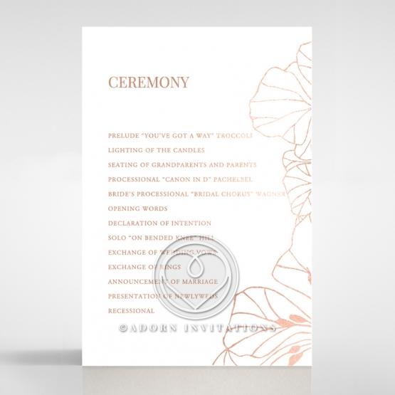 Grand Flora order of service wedding card