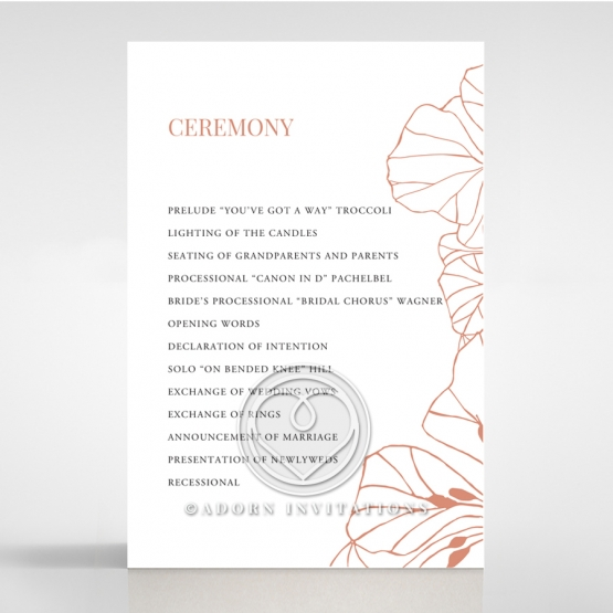 Grand Flora wedding stationery order of service ceremony card