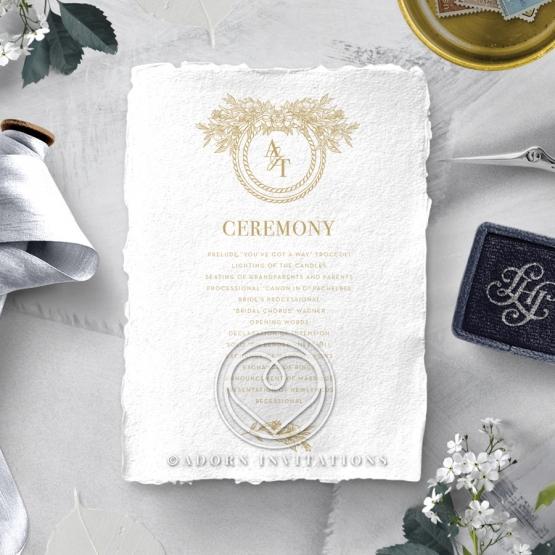 Heritage of Love wedding order of service invitation card design