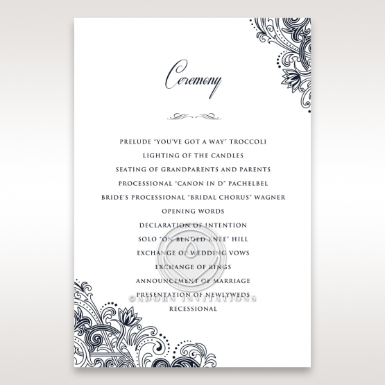 Imperial Glamour without Foil wedding stationery order of service ceremony card design