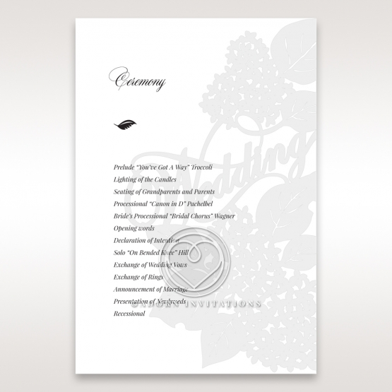 Laser Cut Floral Wedding wedding stationery order of service invite card