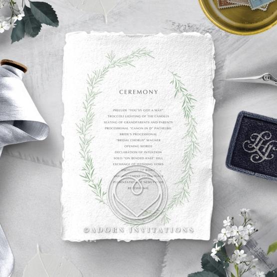 Minimalist Wreath order of service ceremony stationery invite card design
