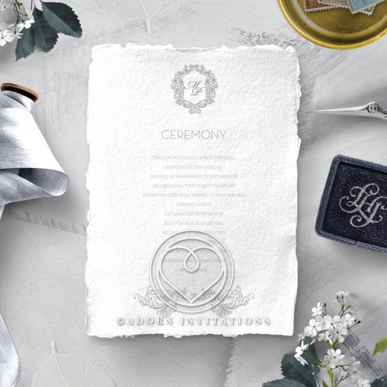 Modern Monogram wedding order of service invitation