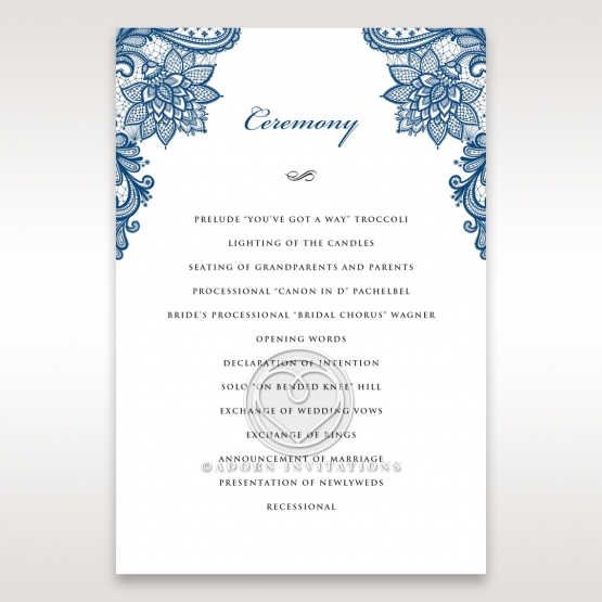 Noble Elegance order of service ceremony invite card