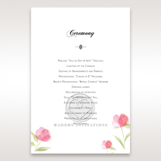 Petal Perfection wedding stationery order of service ceremony card design