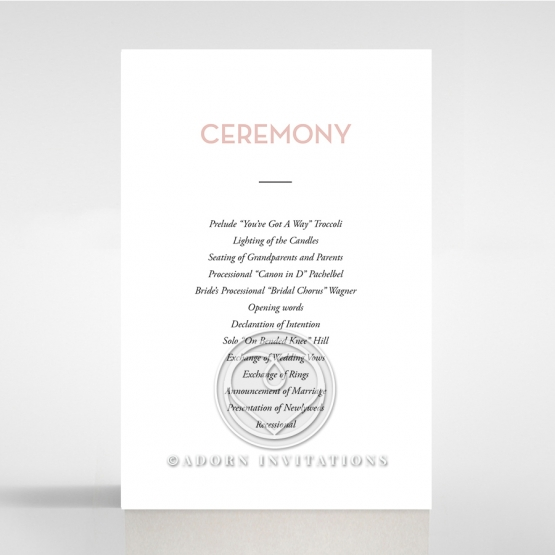 Pink Chic Charm Paper wedding order of service invitation
