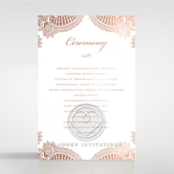 Regal Charm Letterpress with foil order of service stationery card design