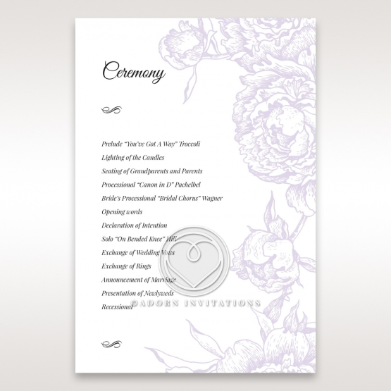 Romantic Rose Pocket order of service stationery card design