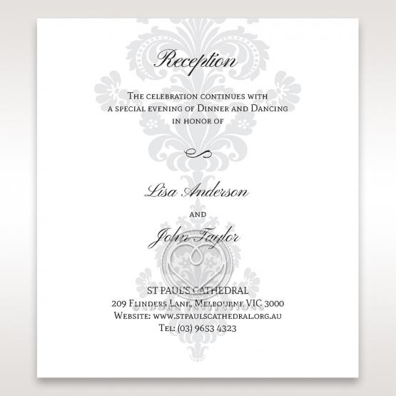 Classic Ivory Damask reception enclosure stationery invite card design