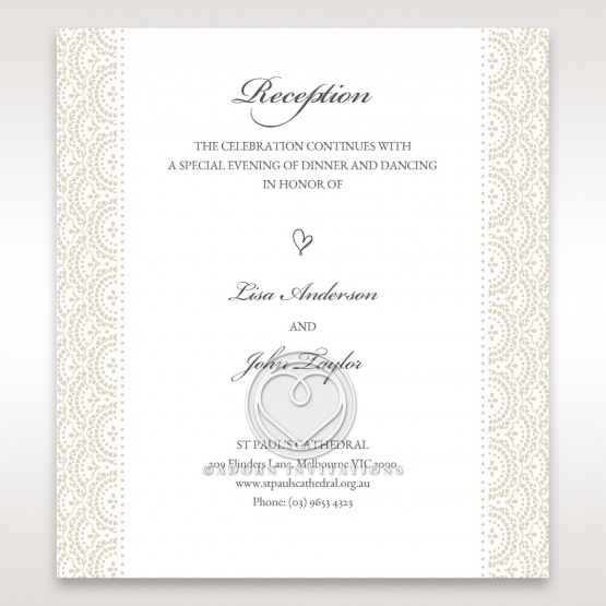 Intricate Vintage Lace wedding reception invitation