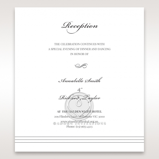 Marital Harmony wedding stationery reception enclosure card