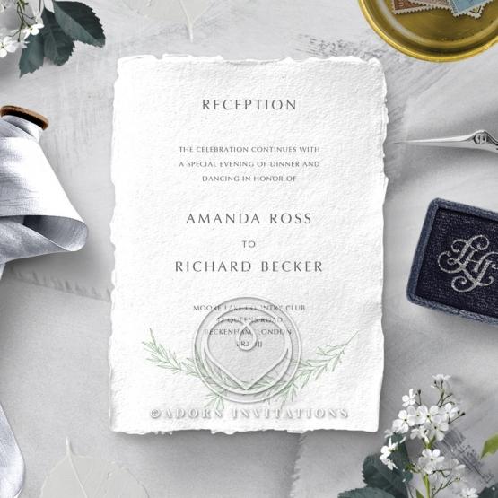 Minimalist Wreath wedding stationery reception invitation card