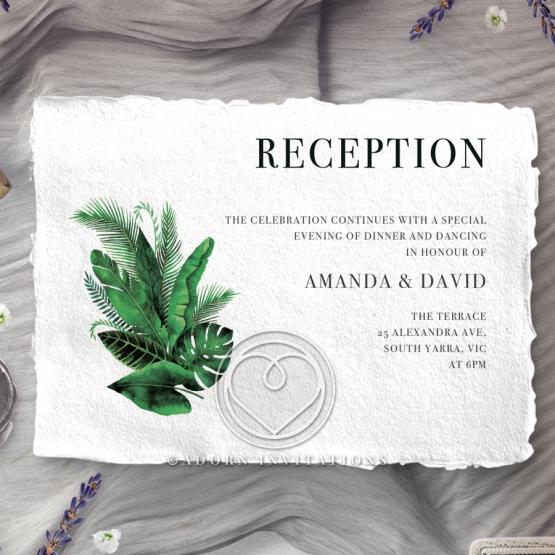 Palm Leaves wedding reception invite card
