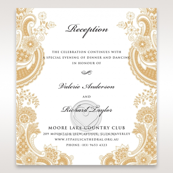 Prosperous Golden Pocket wedding reception invitation card