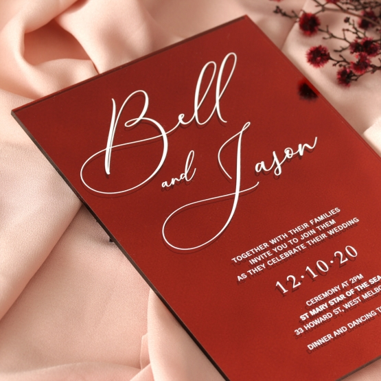 Boldly Red Mirror - Wedding Invitations - ACR-RDMR-WH-1 - 179008